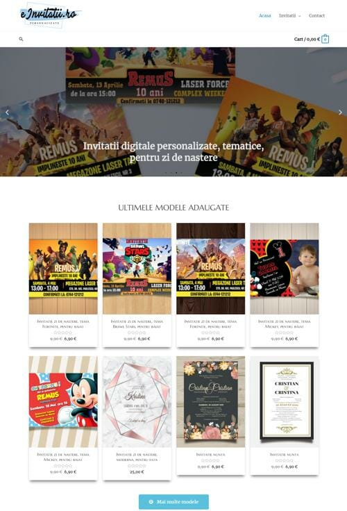 Site pentru un magazin online de invitatii digitale 1